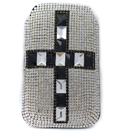 UCCP-CROSS-CL/BLK - WHOLESALE RHINESTONE CRYSTAL CELLPHONE CASES/POUCHES