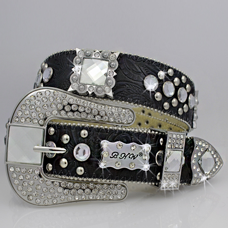 1050-BLACK - WHOLESALE WESTERN RHINESTONE BLOCK CRYSTAL  BELTS