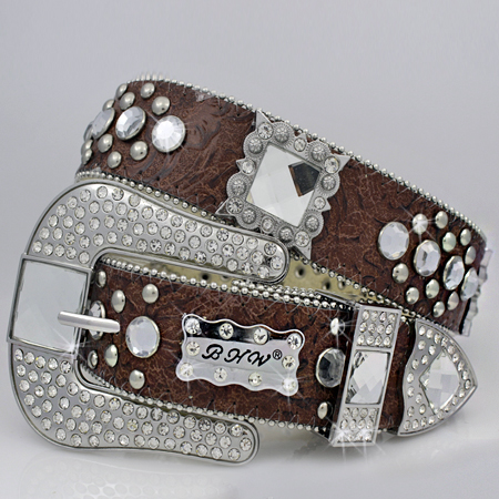 1050-BROWN-CLEAR - WHOLESALE WESTERN RHINESTONE BLOCK CRYSTAL  BELTS