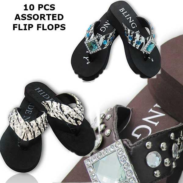 FLIP-FLOP-(10-PAIRS)-MIX-5 - WHOLESALE WESTERN RHINESTONE FLIP FLOPS