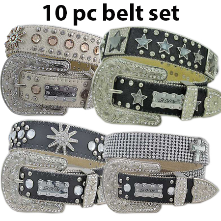 10PCS-AST-BELTS-NEW - WHOLESALE ASSORTED WESTERN BELTS