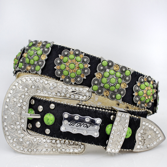 1102-HIDE-BK-TQ-GREEN - WHOLESALE WESTERN RHINESTONE CRYSTAL BHW BRAND BELTS
