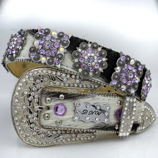 1102-WT-BRIN-PURPLE - WHOLESALE WESTERN RHINESTONE CRYSTAL BHW BRAND BELTS