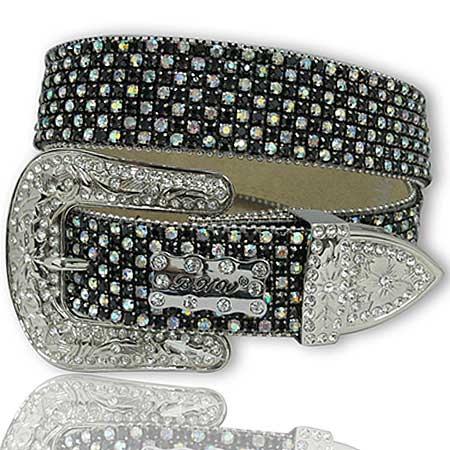 1111-BLACK-AB - WHOLESALE WESTERN RHINESTONE BELTS/BHW BRAND BELTS