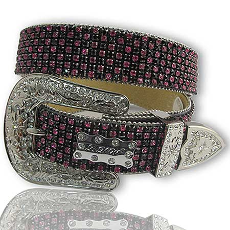 1111-BLACK-HTPK - WHOLESALE WESTERN RHINESTONE BELTS/BHW BRAND BELTS