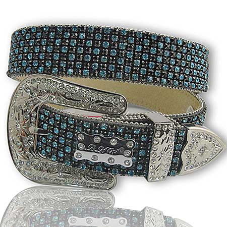 1111-BLACK-TURQ - WHOLESALE WESTERN RHINESTONE BELTS/BHW BRAND BELTS