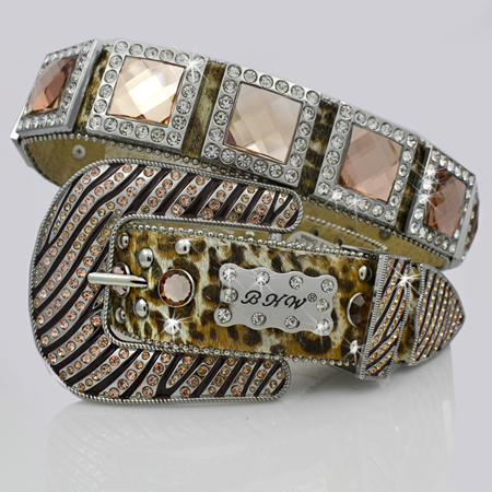 1135-LEO-PEACH - WHOLESALE WESTERN RHINESTONE BLOCK CRYSTAL  BELTS