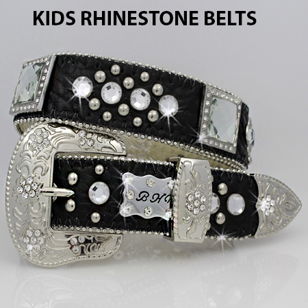1147--BLACK - BHW BRAND KIDS WESTERN BELTS