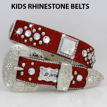 HIDE-1147-RED - BHW BRAND KIDS WESTERN BELTS