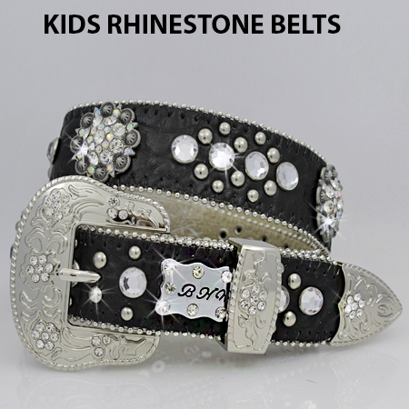 1148-BLACK-CL - BHW BRAND KIDS WESTERN BELTS
