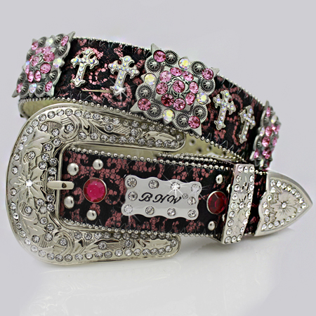 1159-SCROLL-HTPK - WHOLESALE WESTERN RHINESTONE CROSS BELTS