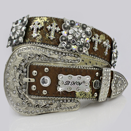 1159-BROWN-GOLD - WHOLESALE WESTERN RHINESTONE CROSS BELTS