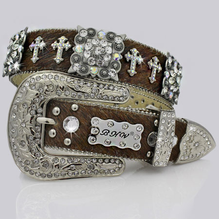 1159-BRN-BRINDLE - WHOLESALE WESTERN RHINESTONE CROSS BELTS