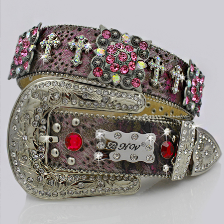 1159-MUD-PINK - WHOLESALE WESTERN RHINESTONE CROSS BELTS