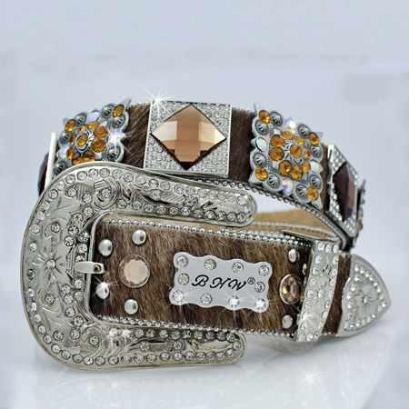1165-BROWN-BINDLE - WHOLESALE WESTERN RHINESTONE BLOCK CRYSTAL  BELTS