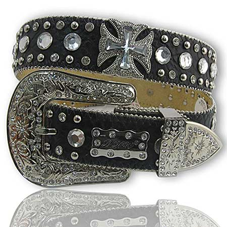 1187-BLACK - WHOLESALE WESTERN RHINESTONE CRYSTAL BHW BRAND BELTS