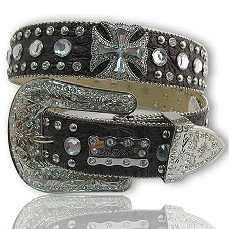 1187-BROWN - WHOLESALE WESTERN RHINESTONE CRYSTAL BHW BRAND BELTS