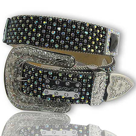 1208-BLACK/AB - WHOLESALE WESTERN RHINESTONE BELTS/BHW BRAND BELTS
