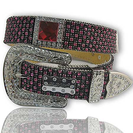 1208-BLACK/HTPK - WHOLESALE WESTERN RHINESTONE BELTS/BHW BRAND BELTS