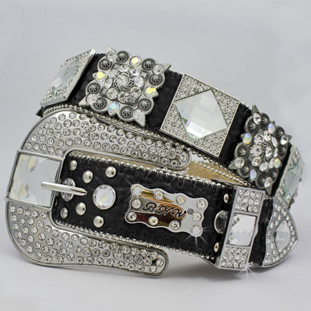 1214-BLACK/CLEAR - WHOLESALE WESTERN RHINESTONE BLOCK CRYSTAL  BELTS