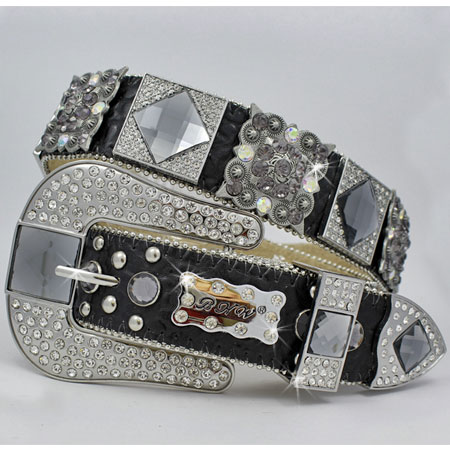 1214-BLACK/SMOKE - WHOLESALE WESTERN RHINESTONE BLOCK CRYSTAL  BELTS