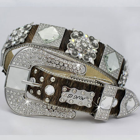 1214-BRN-BRINDLE - WHOLESALE WESTERN RHINESTONE BLOCK CRYSTAL  BELTS