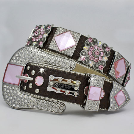 1214-BROWN-PINK - WHOLESALE WESTERN RHINESTONE BLOCK CRYSTAL  BELTS