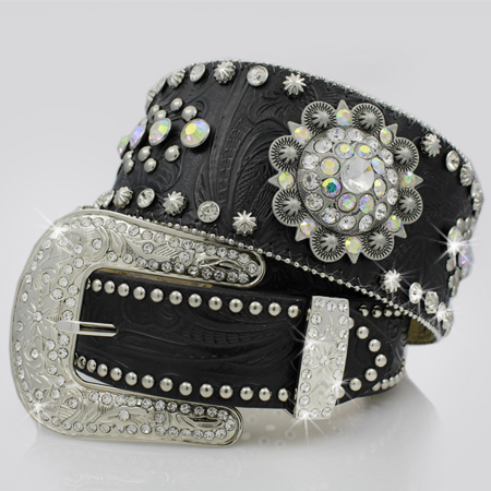 1262-BLACK-CLEAR - BHW BRAND WIDE WESTERN RHINESTONE BELTS