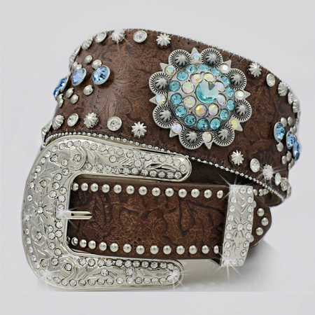 1262-BROWN-TURQ - BHW BRAND WIDE WESTERN RHINESTONE BELTS