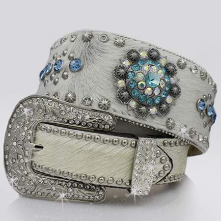 1262-NATURAL - BHW BRAND WIDE WESTERN RHINESTONE BELTS