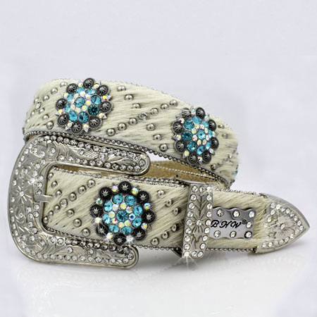1320-NATURAL-TURQ - WHOLESALE WESTERN RHINESTONE CRYSTAL BHW BRAND BELTS