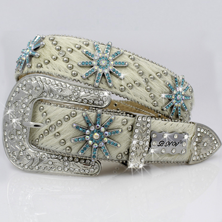 1325-NATURAL - WHOLESALE WESTERN RHINESTONE CRYSTAL BHW BRAND BELTS