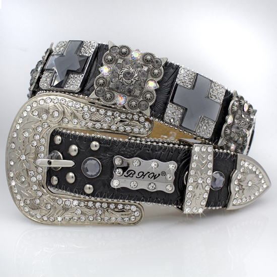 1327-BLACK-SMOKE - WHOLESALE WESTERN RHINESTONE BLOCK CRYSTAL BELTS
