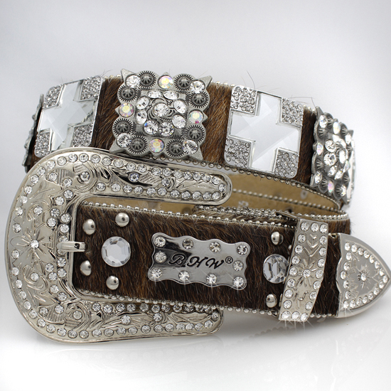 1327-BROWN-BRINDLE - WHOLESALE WESTERN RHINESTONE BLOCK CRYSTAL BELTS