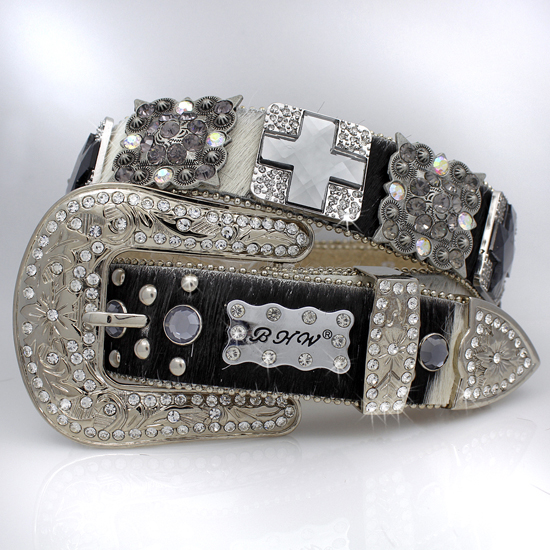 1327-NATURAL-SMOKE - WHOLESALE WESTERN RHINESTONE BLOCK CRYSTAL BELTS