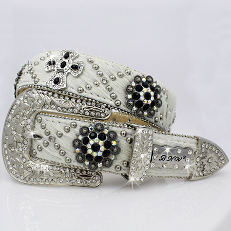 1331-NATURAL - WHOLESALE WESTERN RHINESTONE CRYSTAL BHW BRAND BELTS
