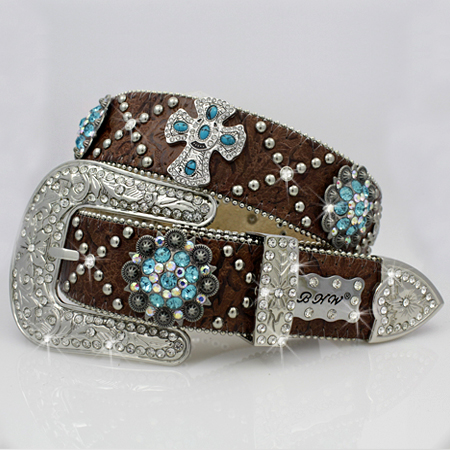 1331-BROWN-TURQ - WHOLESALE WESTERN RHINESTONE CRYSTAL BHW BRAND BELTS