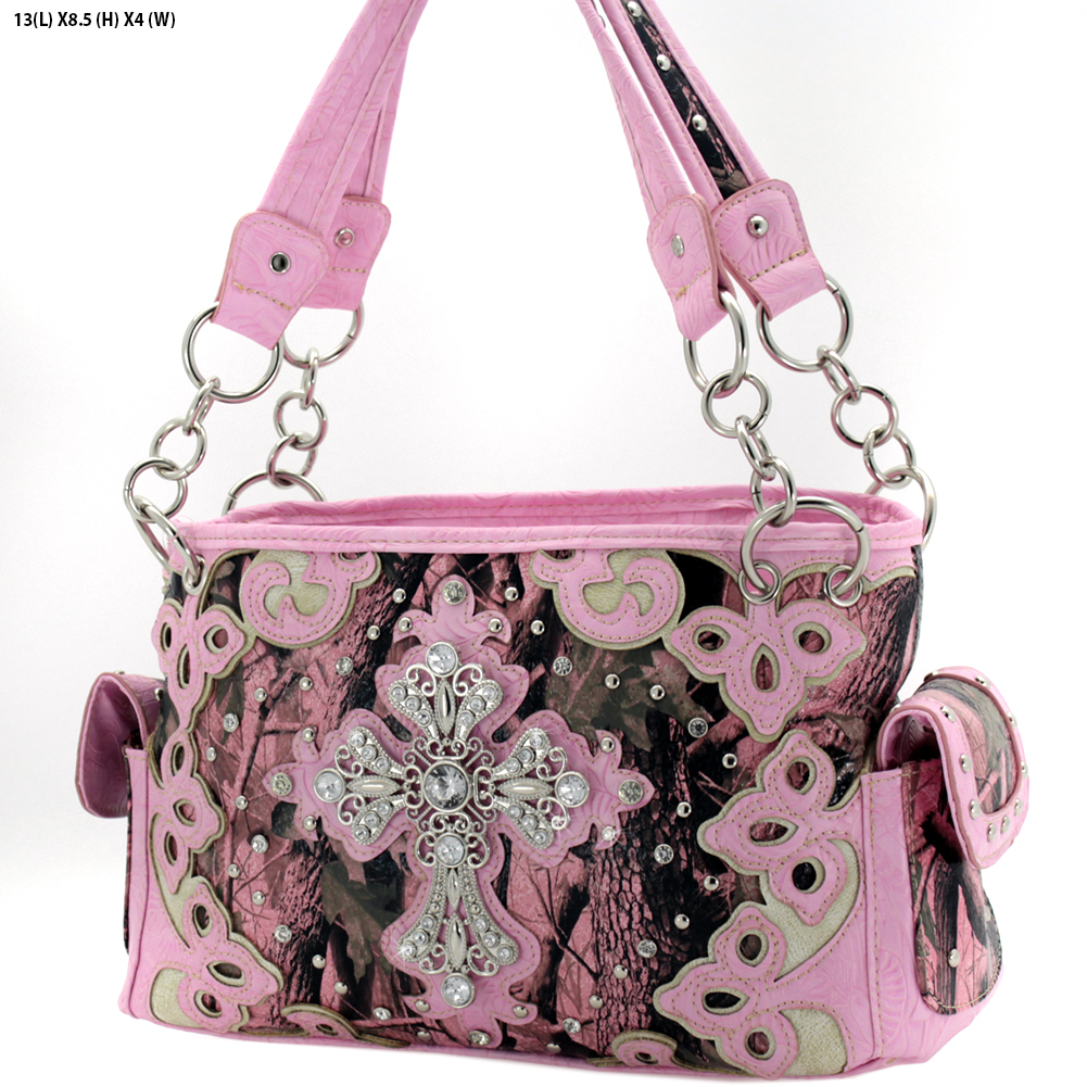 BHW-CROSS-W28-KW-133-PK-PINK - BHW-CROSS-W28-KW-133-PK-PINK WHOLESALE CAMO CROSS CONCEALED WEAPON PURSES HANDBAGS