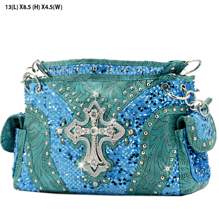 CROSS-133-8104-BLUE - WHOLESALE WESTERN CROSS SEQUIN HANDBAG