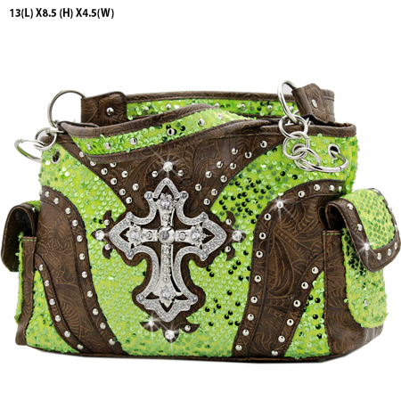 CROSS-133-8104-GREEN - WHOLESALE WESTERN CROSS SEQUIN HANDBAG