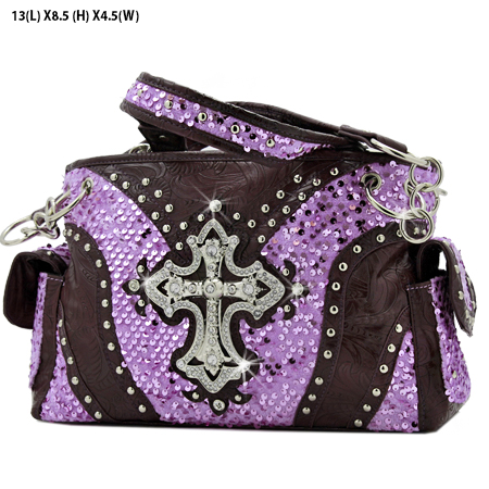 CROSS-133-8104-PUR - WHOLESALE WESTERN CROSS SEQUIN HANDBAG