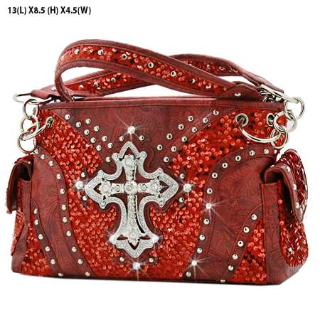 CROSS-133-8104-RED - WHOLESALE WESTERN CROSS SEQUIN HANDBAG