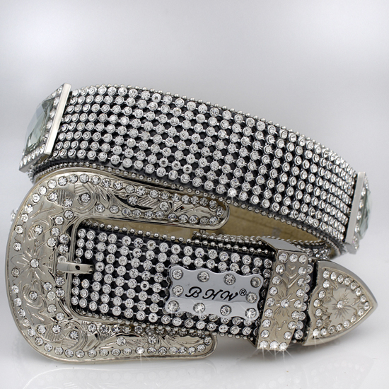 1363-BLACK-CLEAR - WHOLESALE WESTERN RHINESTONE BELTS/BHW BRAND BELTS