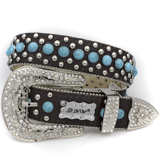 175-BROWN-BLUE-(5PC-SET) - WHOLESALE WESTERN RHINESTONE BHW BRAND BELTS