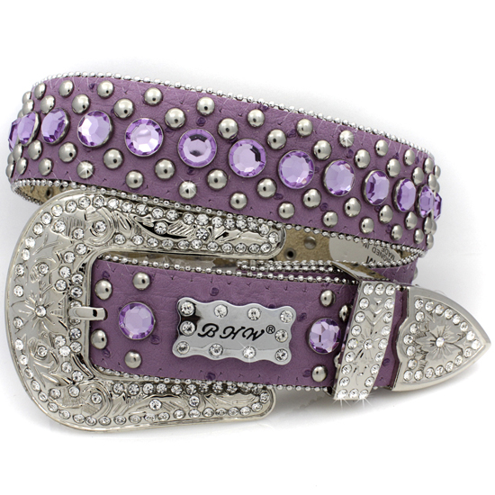 175-PURPLE-(5PC-SET) - WHOLESALE WESTERN RHINESTONE BHW BRAND BELTS