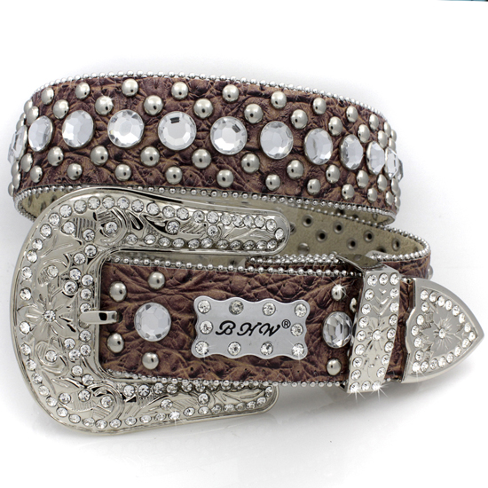 175-BROWN-CLEAR-(5PC-SET) - WHOLESALE WESTERN RHINESTONE BHW BRAND BELTS