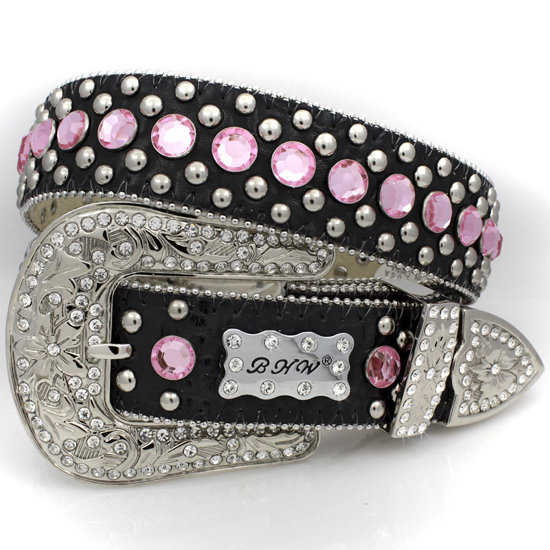 175-BLACK-PINK-(5PC-SET) - WHOLESALE WESTERN RHINESTONE BHW BRAND BELTS