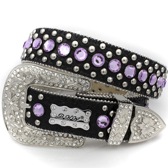 175-BLACK-PURPLE-(5PC-SET) - WHOLESALE WESTERN RHINESTONE BHW BRAND BELTS