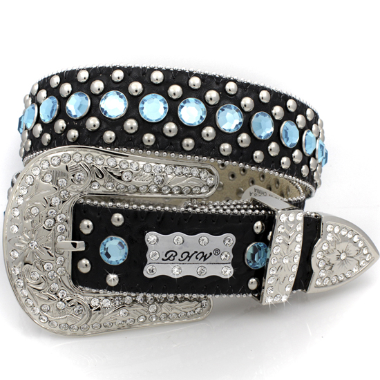 175-BLACK-BLUE-(5PC-SET) - WHOLESALE WESTERN RHINESTONE BHW BRAND BELTS