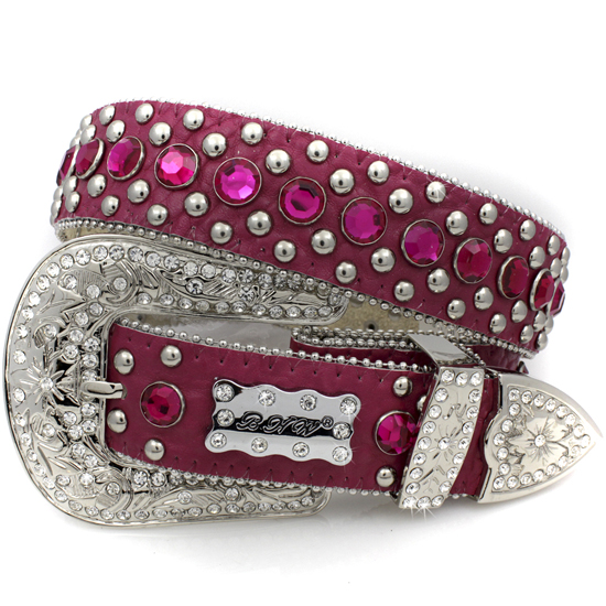175-HT-PINK-(5PC-SET) - WHOLESALE WESTERN RHINESTONE BHW BRAND BELTS